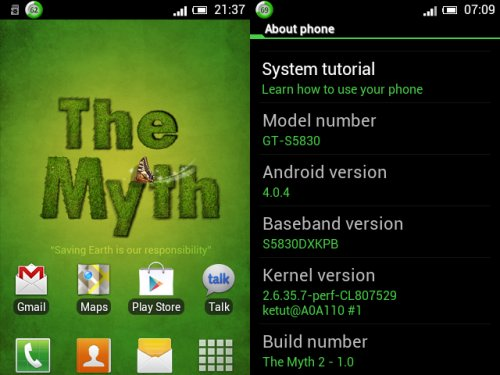 Custom ROM Samsung Galaxy Ace : The Myth #2 | PanDe Baik