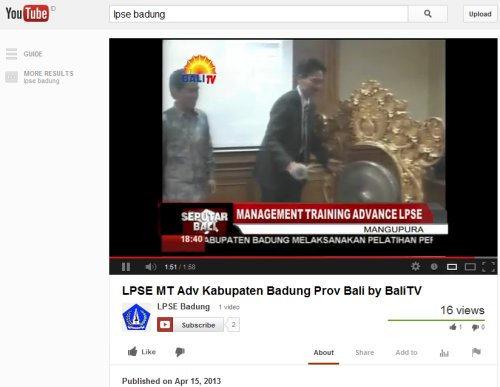 Video LPSE MT Advanced Badung bali